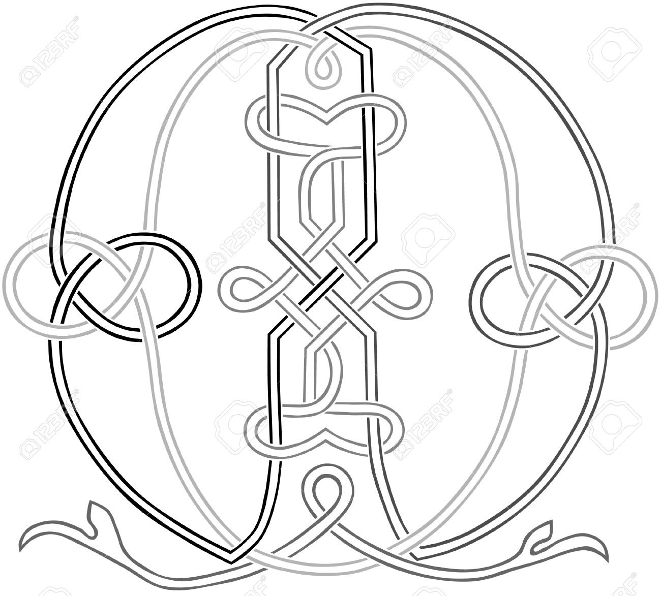 A Celtic Knot Work Capital Letter M Stylized Outline Stock Vector