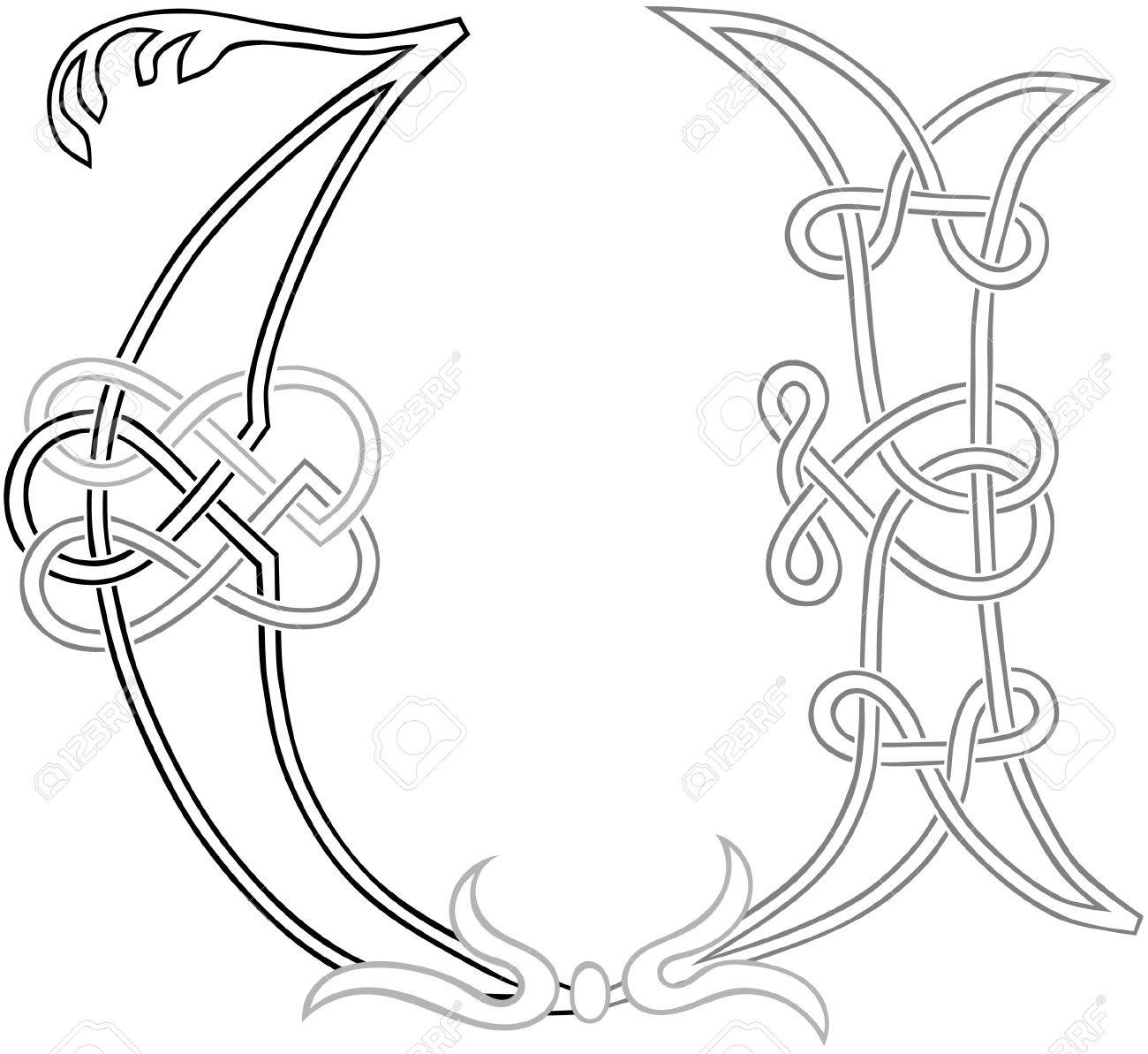 A Celtic Knot-work Capital Letter U Stylized Outline Royalty Free ...