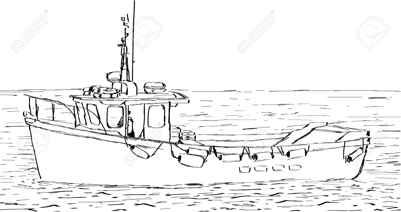 hand sketched drawing of a fishing boat royalty free cliparts