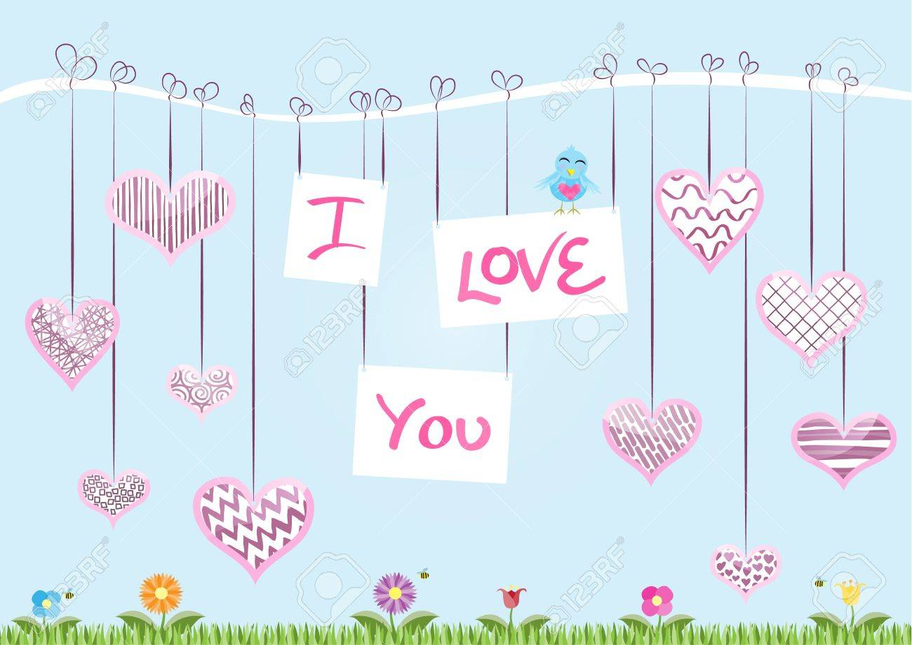 St Valentine�s Day Card � The message �I Love You� hanging from a branch with decorated hearts Stock Vector - 16702602