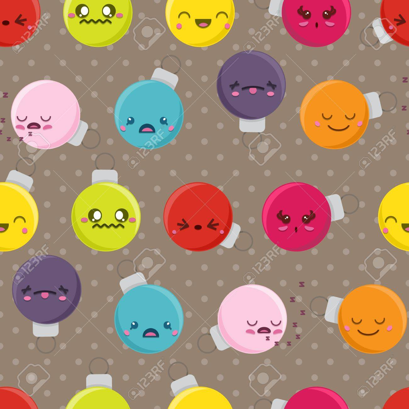 Seamless Background Tile With Super Cute Kawaii Christmas Baubles ...