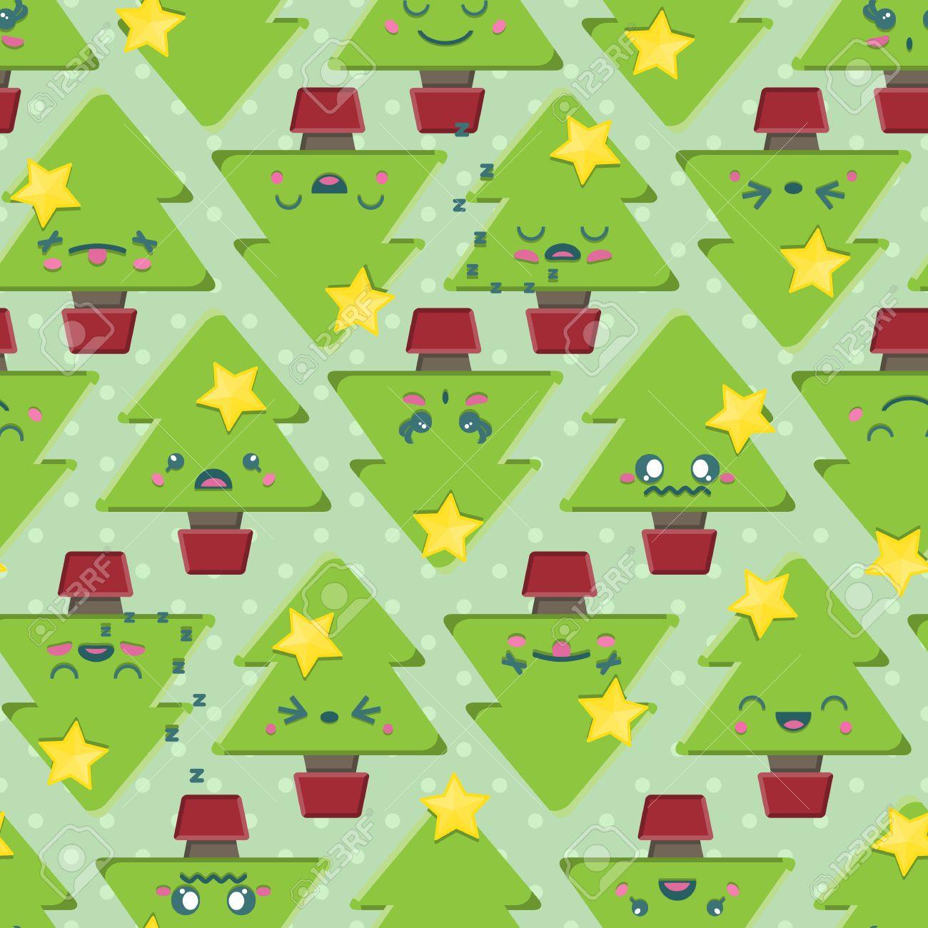 Seamless Background Tile With Super Cute Kawaii Christmas Tree ...
