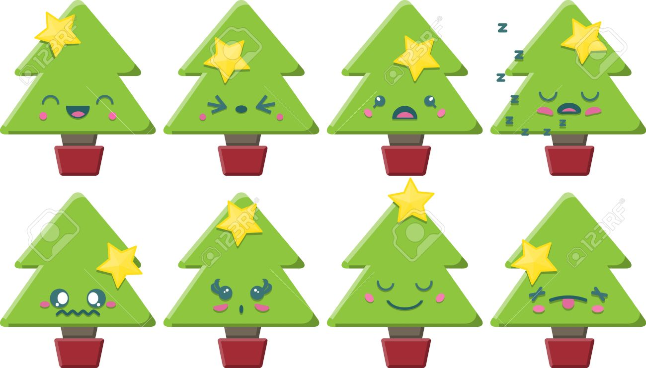 Set Of 8 Super Cute Kawaii Style Christmas Trees With Different ...