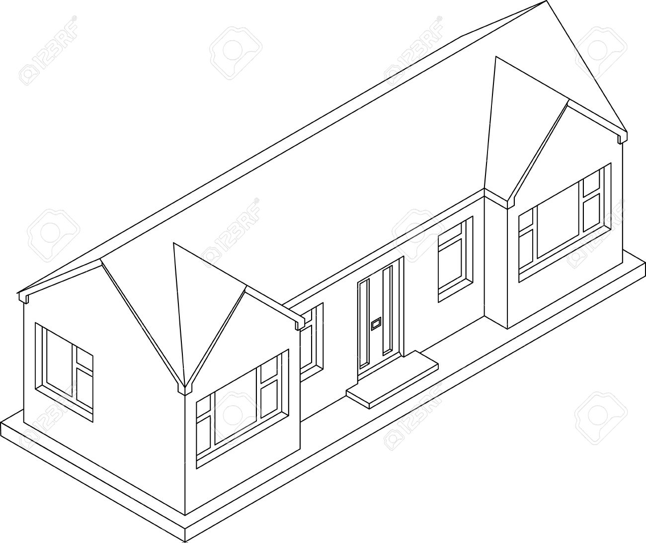 Marvelous 3d Isometric Line Drawing Of A Double Fronted Single Story House Bungalow  Stock Vector   23857959