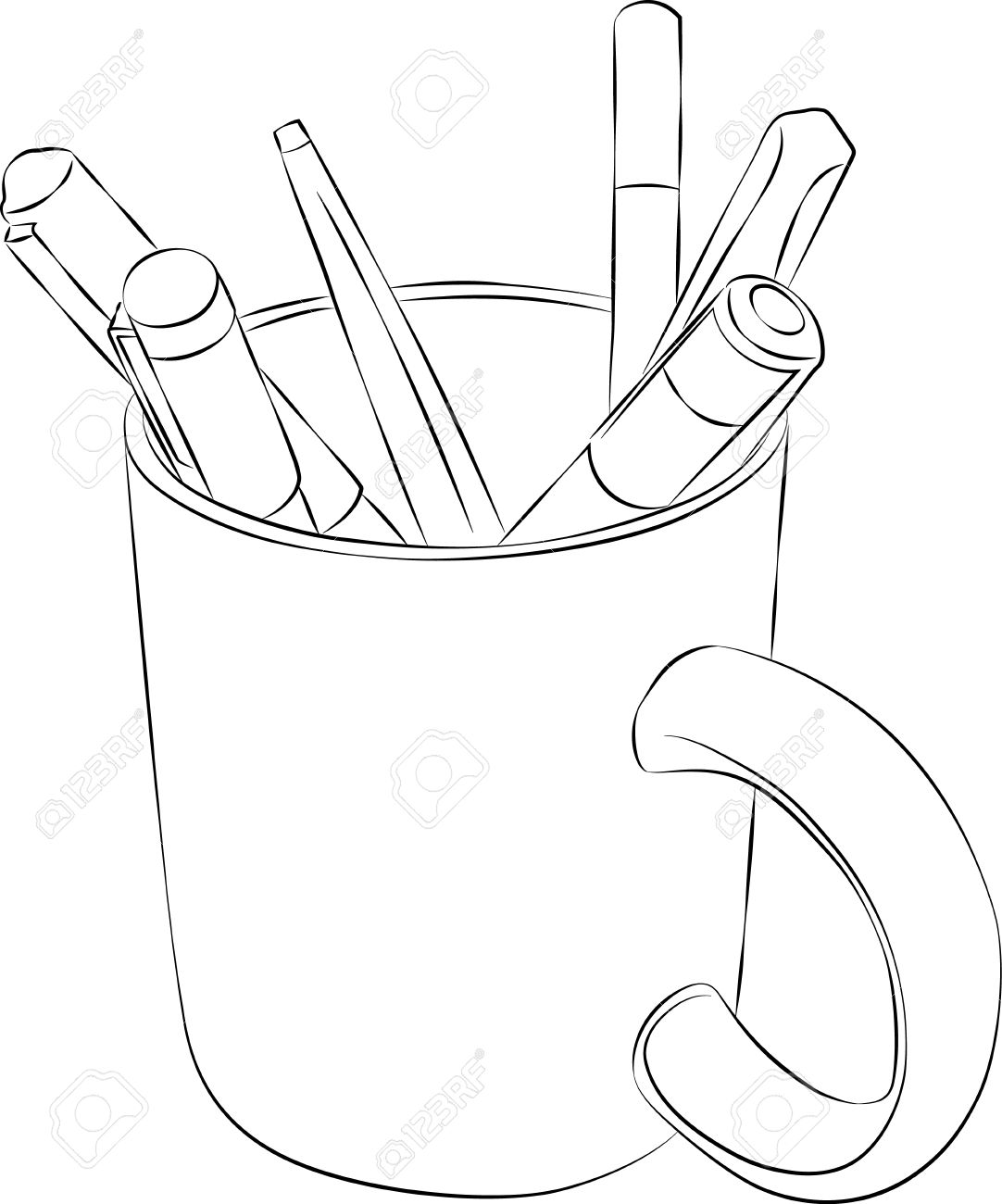 Drawing Sketching Sketched Line Drawing of a Mug