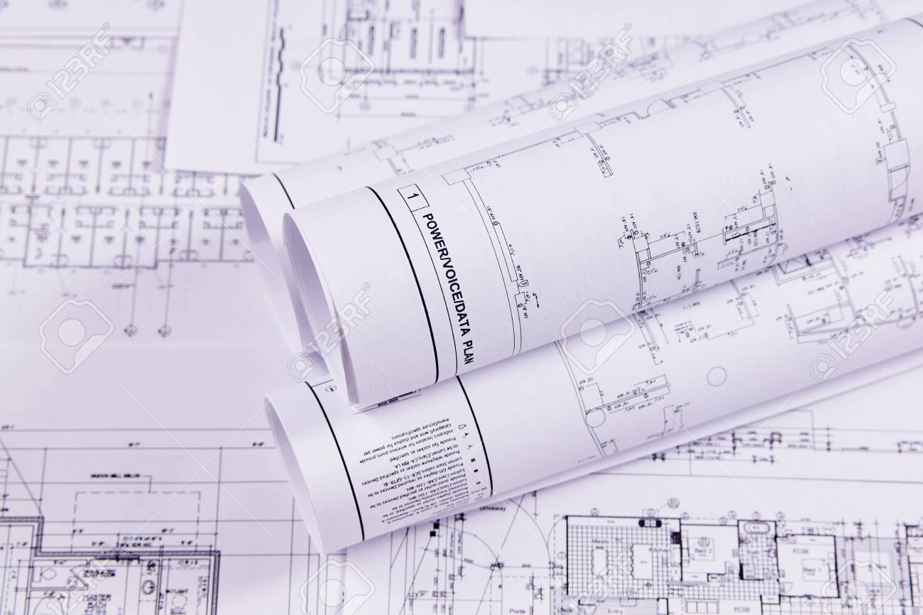 Engineering background. Construction drawings of buildings and structures for the project engineering work. Close-up. - 121070153