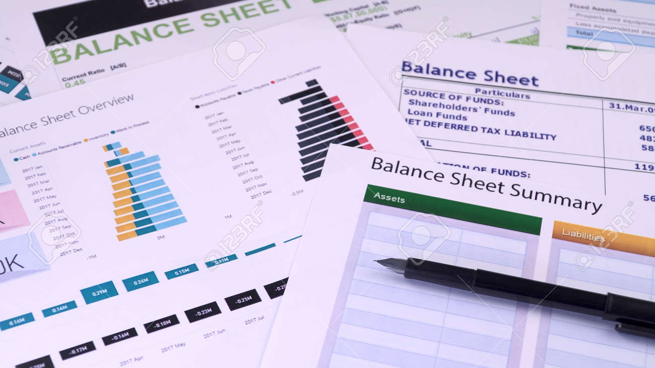 Conceptual composition. Balance sheet summary form and pen on the background of financial documents, close-up - 158046431
