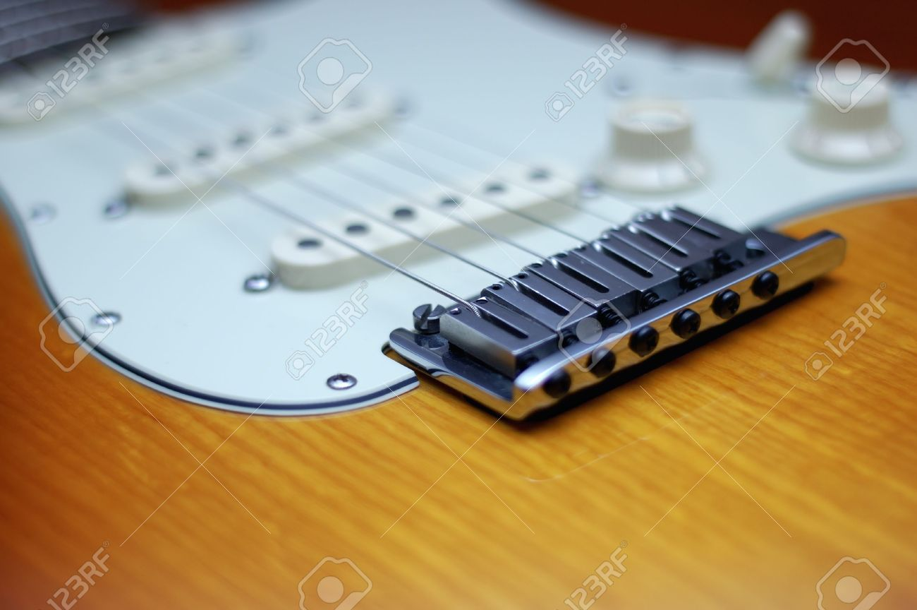 Close Up Of A Fender American Deluxe Guitar Bridge Stock Photo