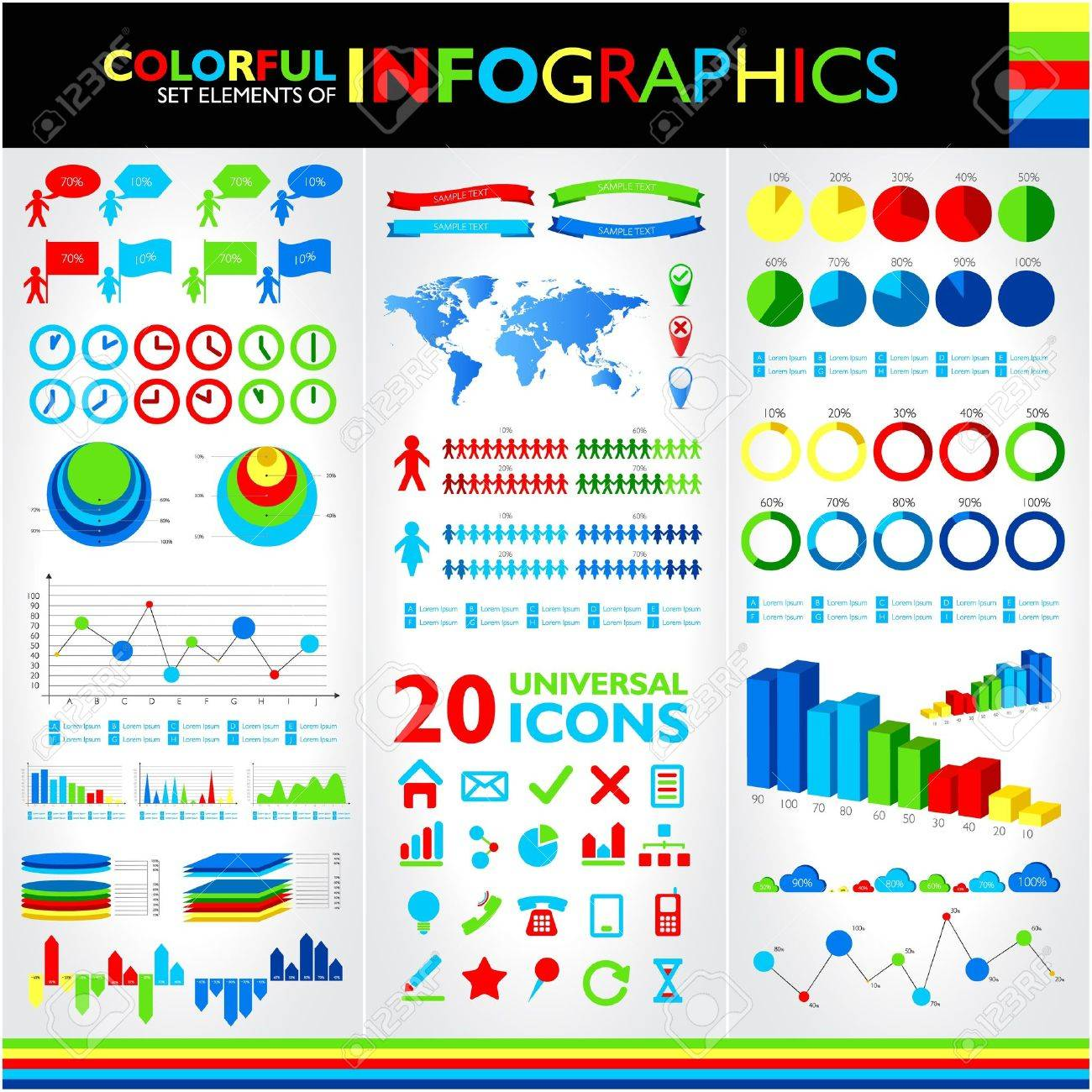 Colorful infographics set and vector universal icons Stock Vector - 19793766