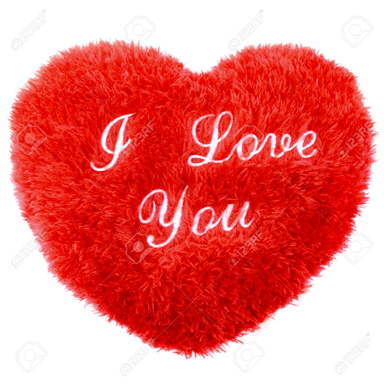fluffy i love you heart shape valentines day pillow stock photo