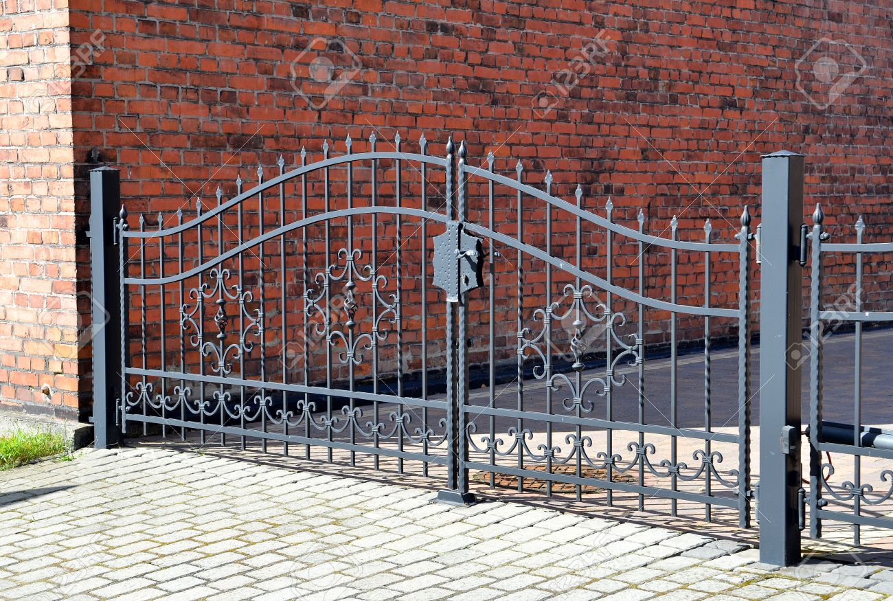 Forged iron gate outdoor  Black grey fence