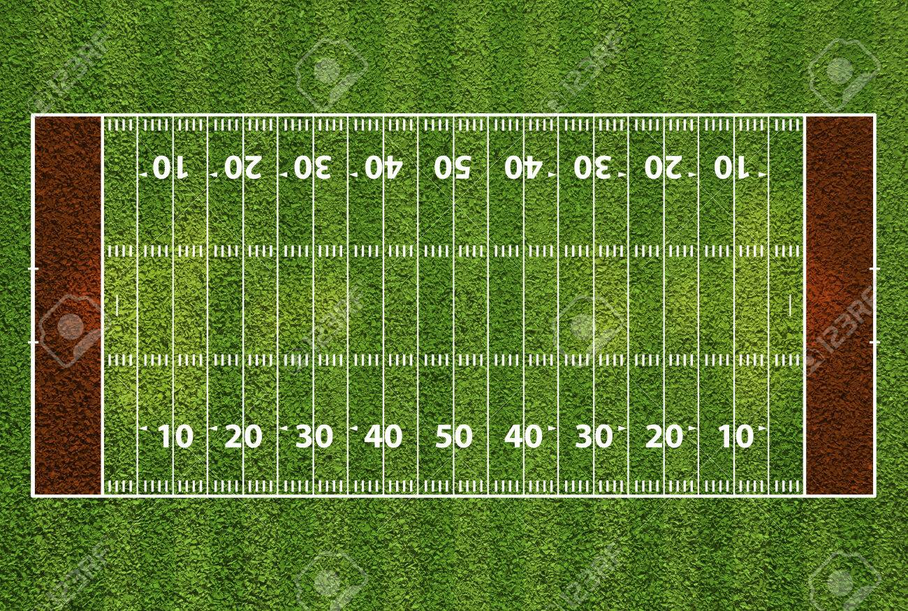 american football field with hash marks and yard lines grass