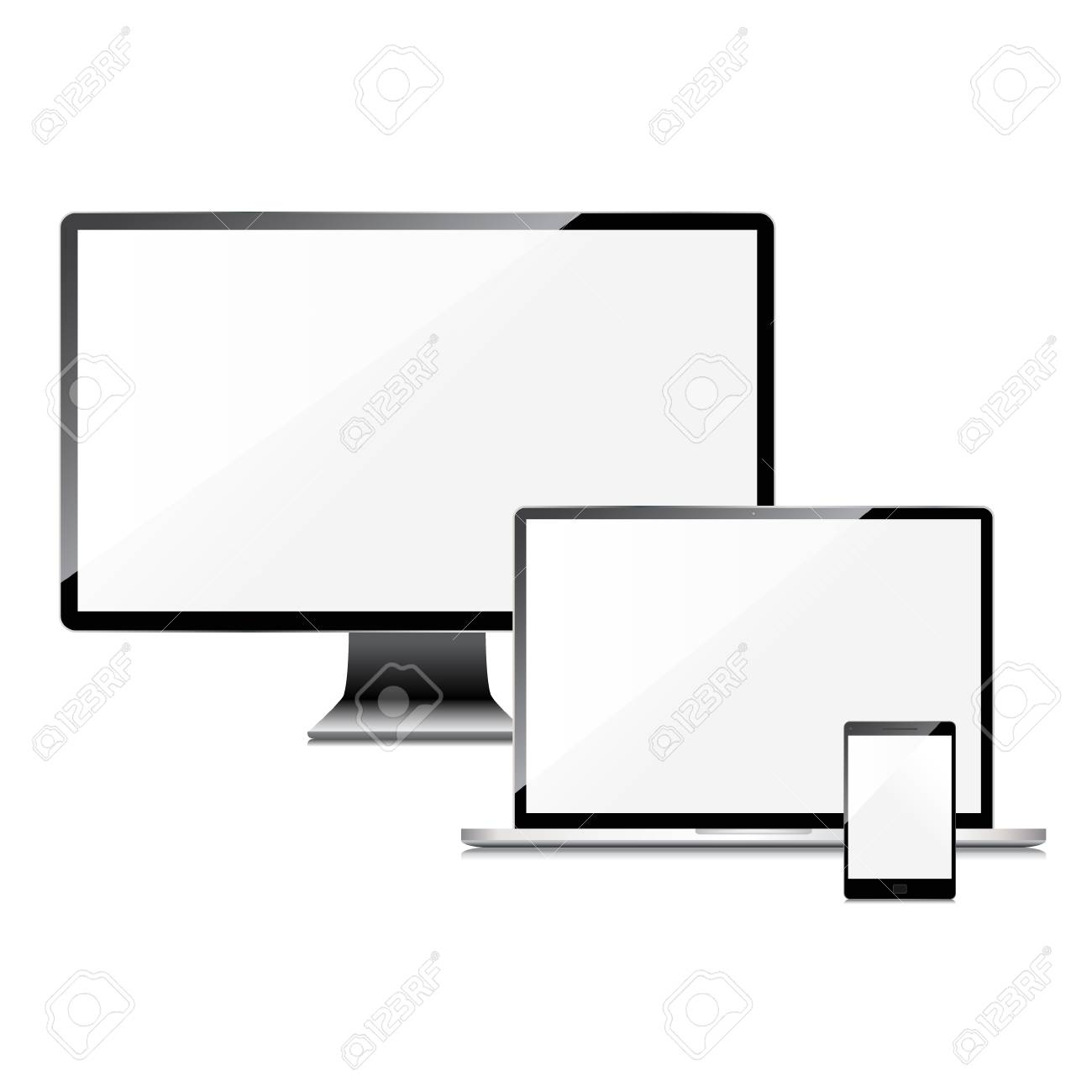Blank screens set, isolated on white background Stock Vector - 29001672