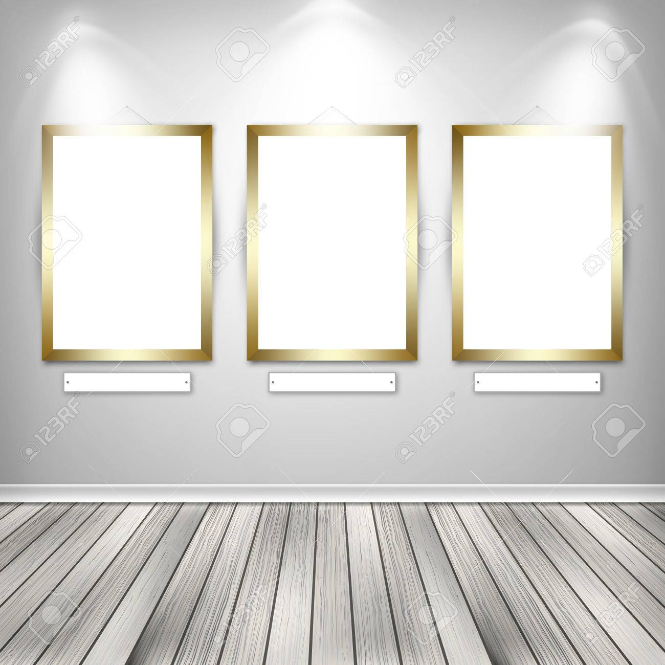 gallery interior with three empty frames on wall stock photo 36519683