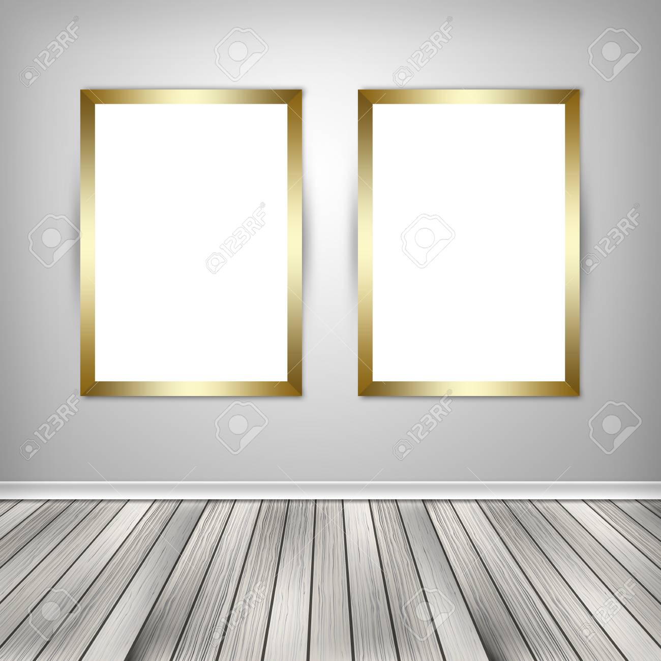 gallery interior with two empty frames on wallgallery interior with two empty frames on wall stock photo 65109020