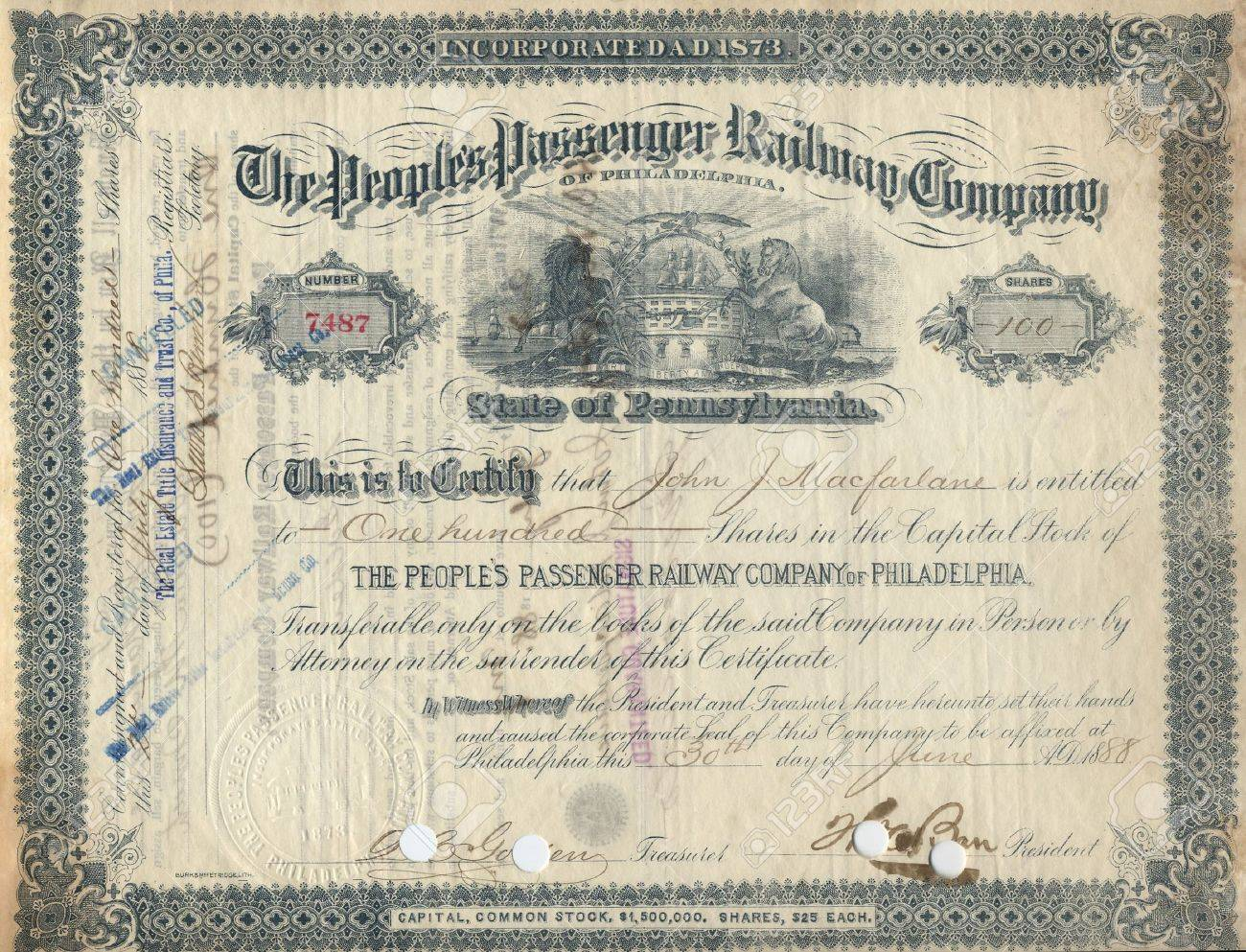 Photograph Of A 19th Century Stock Certificatenot Under Copyright