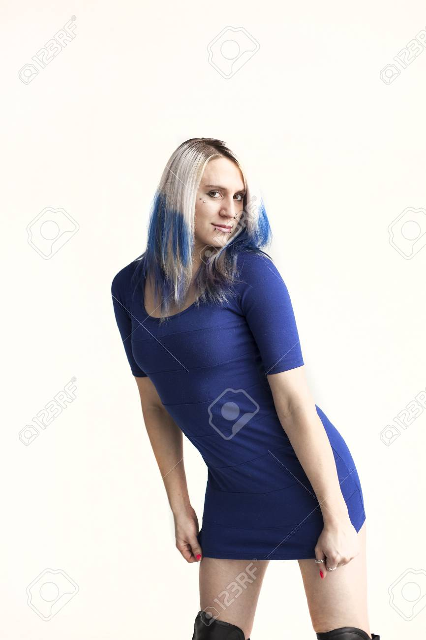 Portrait of a beautiful young woman with blue hair shot on awhite background. Stock Photo - 18426888