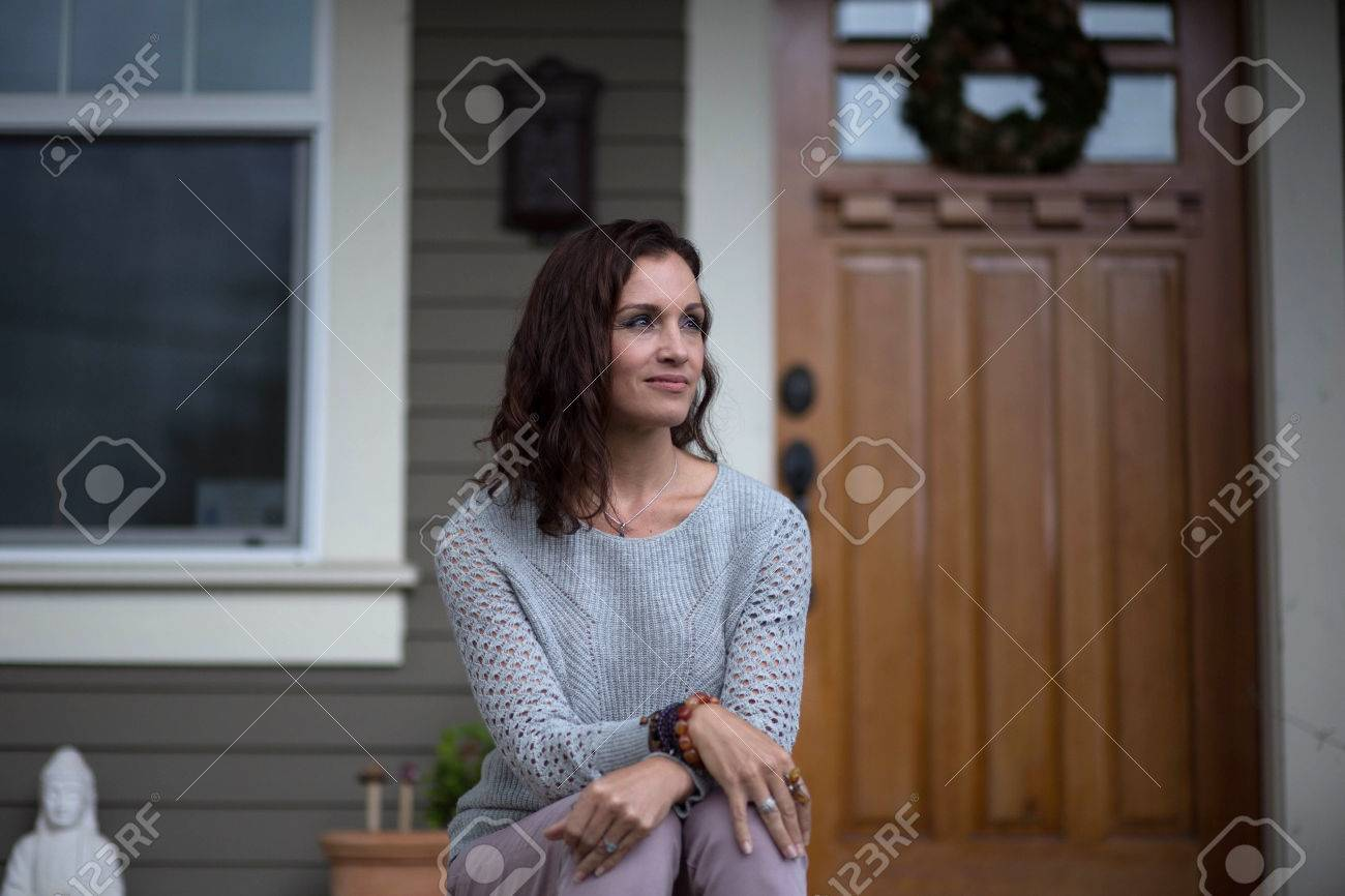 Photo Of A Very Attractive 40 Year Old Woman With Brown Hair Stock