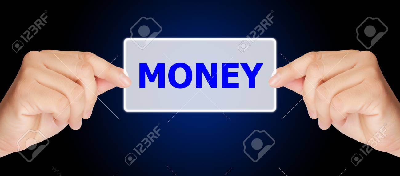 business man hand touching on money button Stock Photo - 17185171