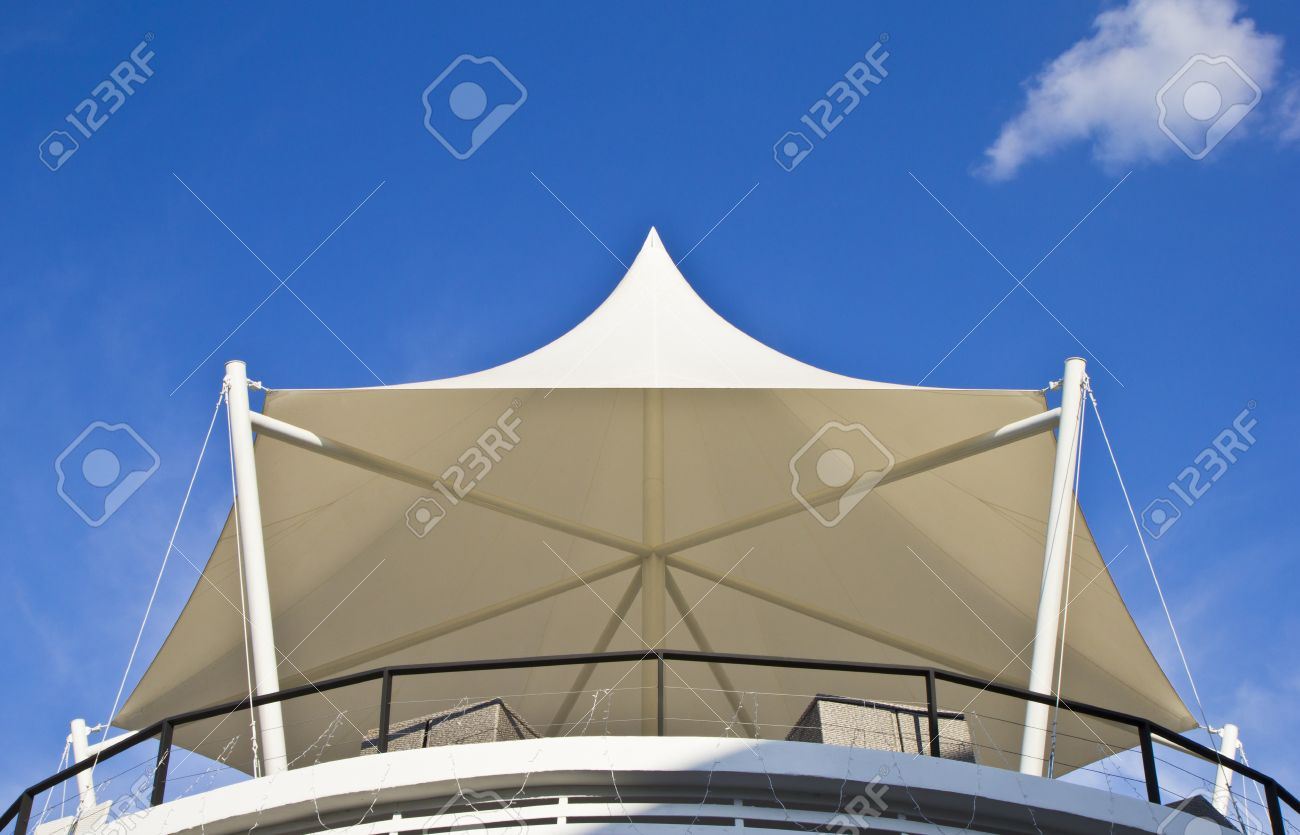 Canvas roof hexagon shape on blue sky background Stock Photo - 17202216 : canvas roof - memphite.com