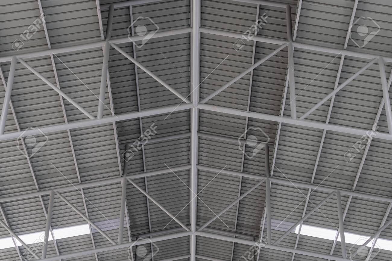 Structure of metal sheet roof, Roof structure of factory. - 132135034