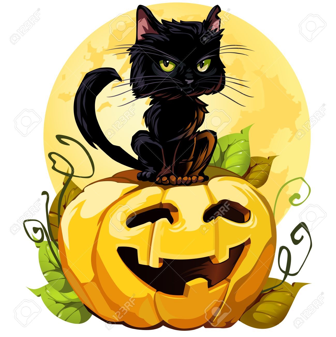 A Cute Black Cat On A Halloween Pumpkin EPS8 Isolated On White Each Element  Grouped White