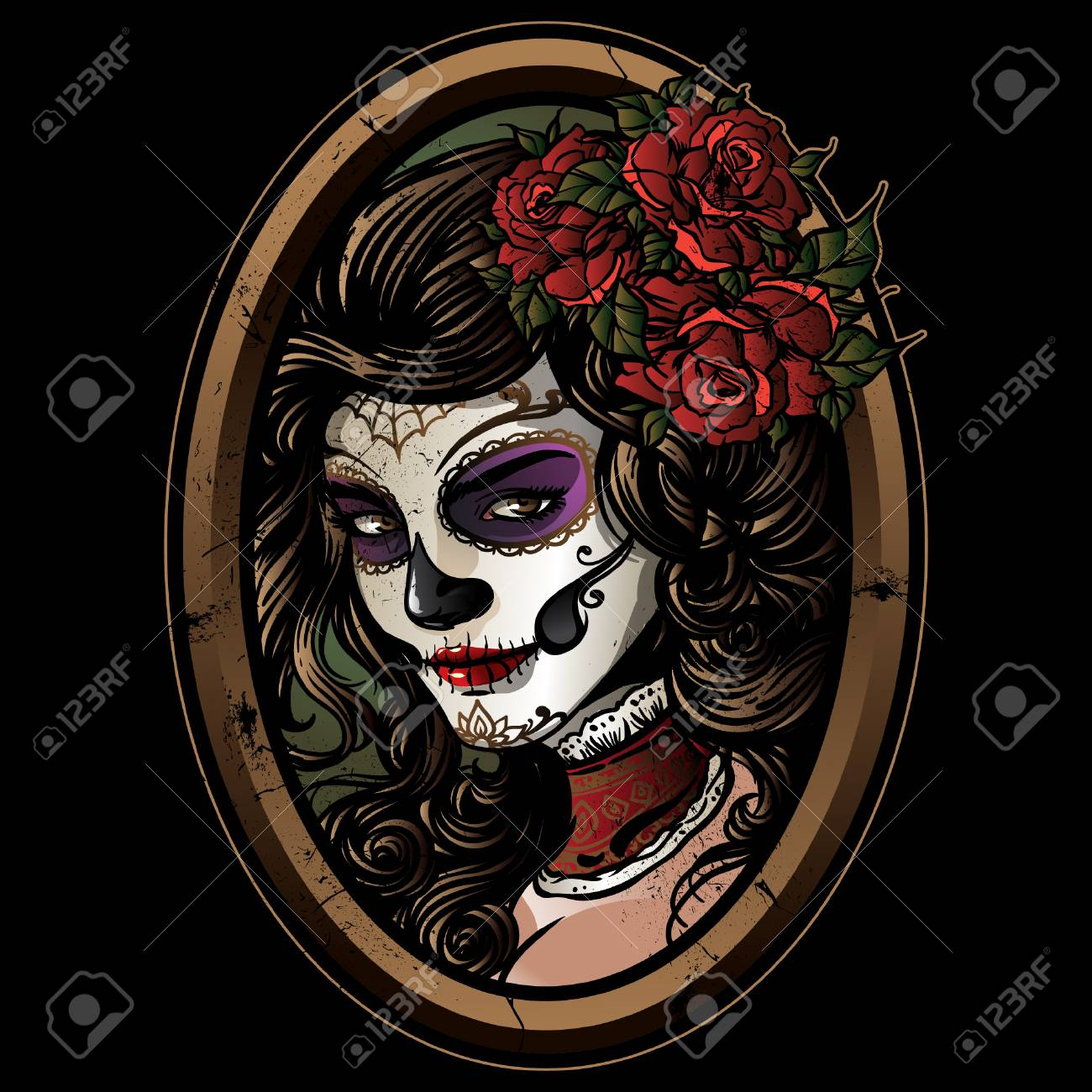 Sugar Skull Girl Illustration Royalty Free Cliparts Vectors And Stock Illustration Image 106276918