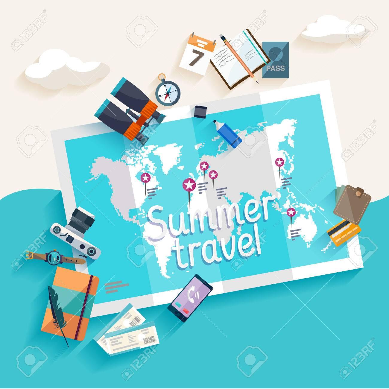Summer travel. Flat design. Stock Vector - 44238154
