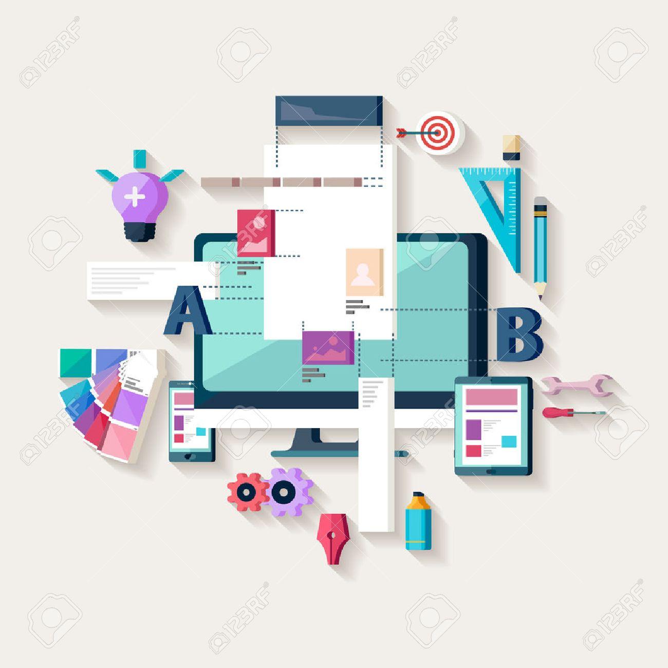 Web design, creating website. Flat design. - 47832976