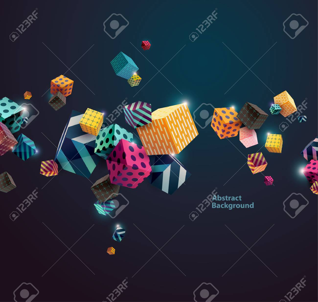 Multicolored decorative cubes. Abstract vector illustration. - 54352800
