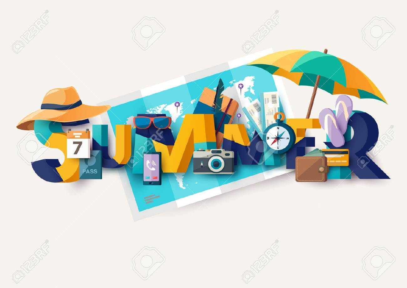 Summer holiday illustration with lettering. Typographic poster. - 56577652
