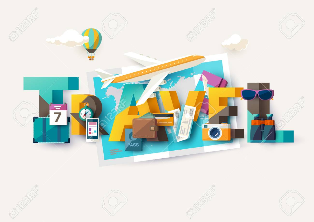 Travel illustration with lettering. Typographic poster. - 56577646