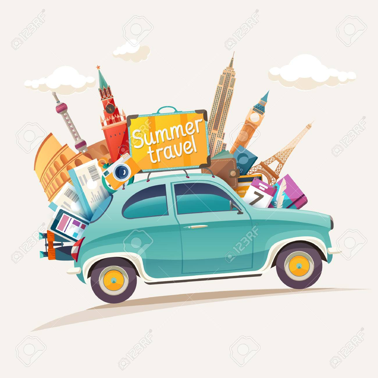 Summer travel illustration with retro car and architectural sights - 56583459