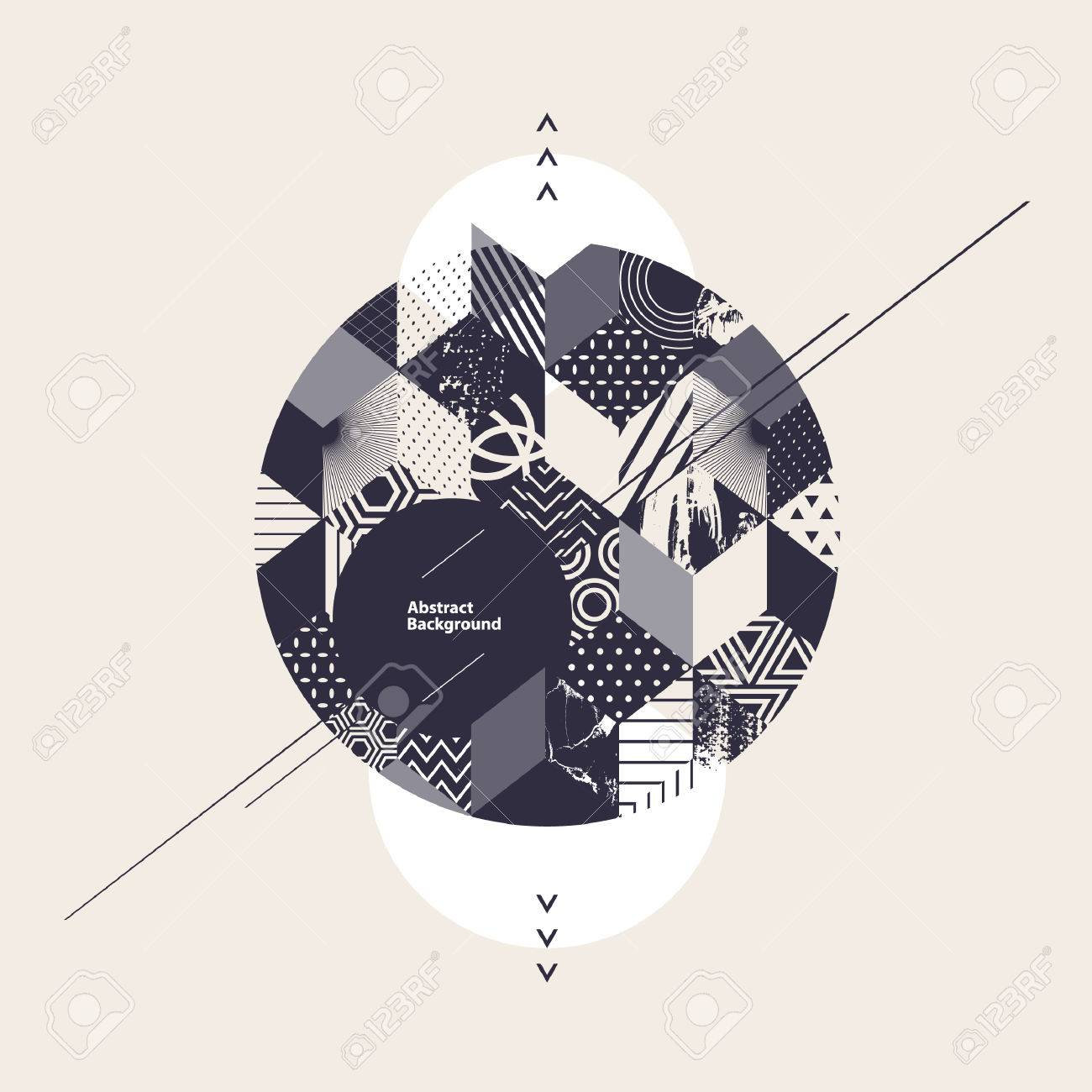 Abstract geometric background with circle - 58418383