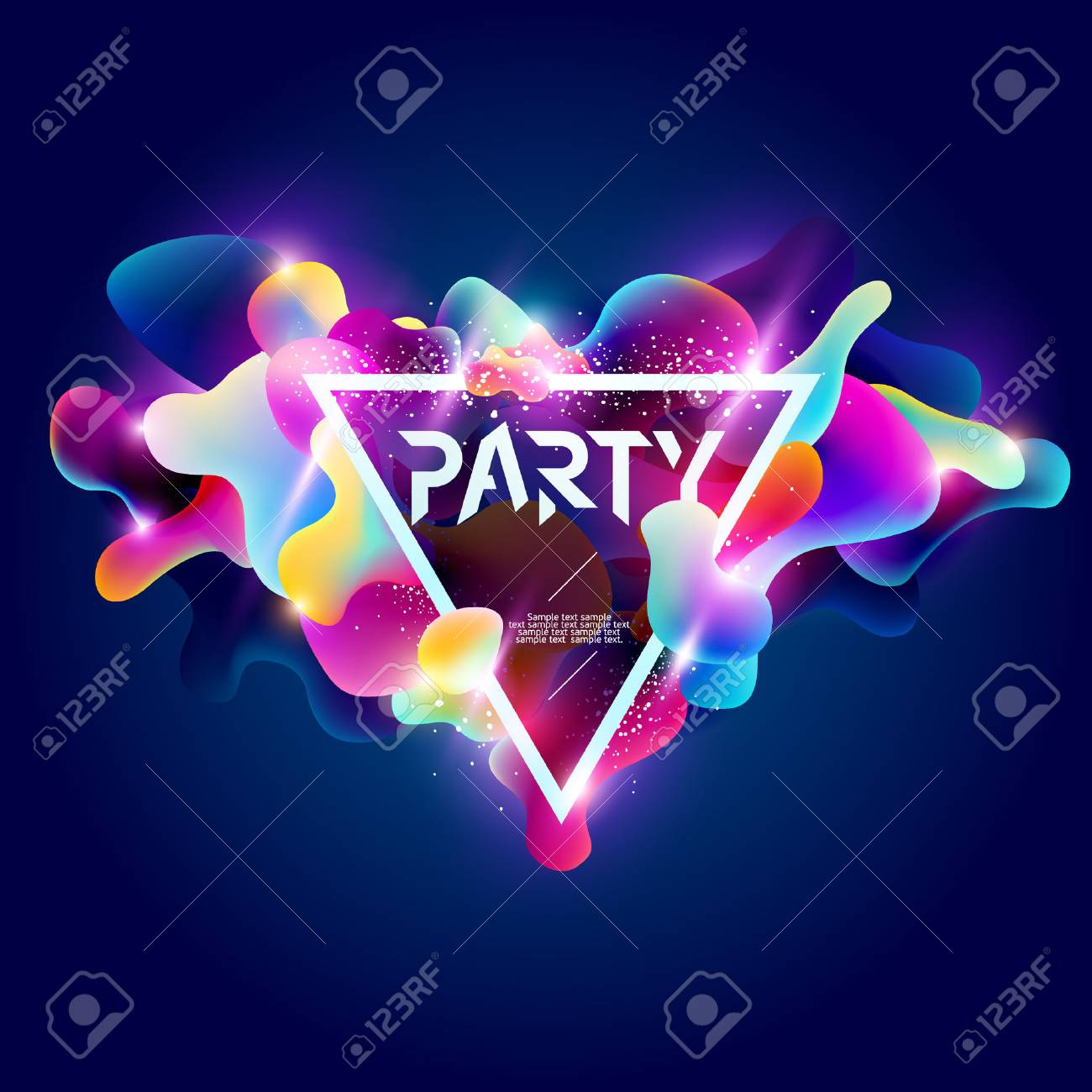 Poster for party. Plastic colorful shapes. - 61095675