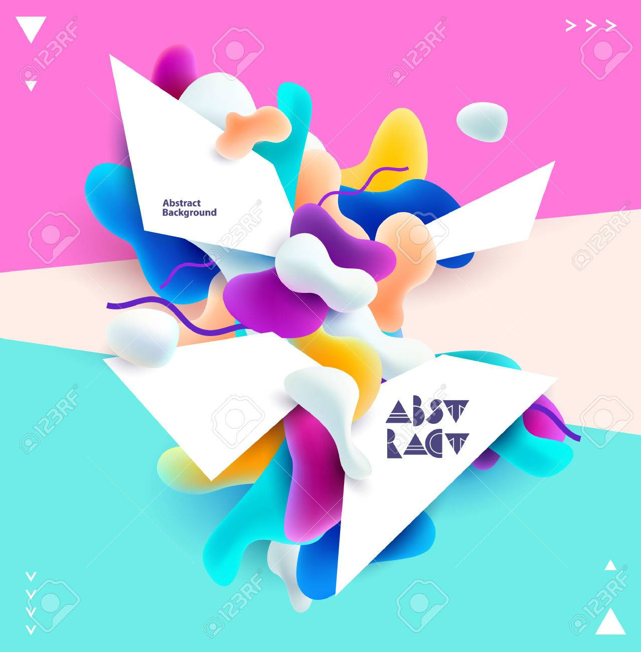 Abstract colorful poster. Plastic 3d shapes with space for text. - 73089804