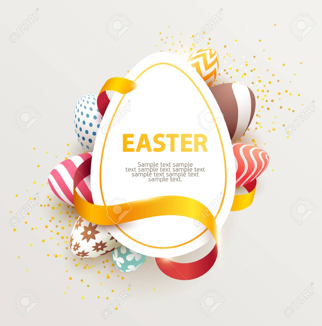 Easter colorful poster with place for text. - 74114837
