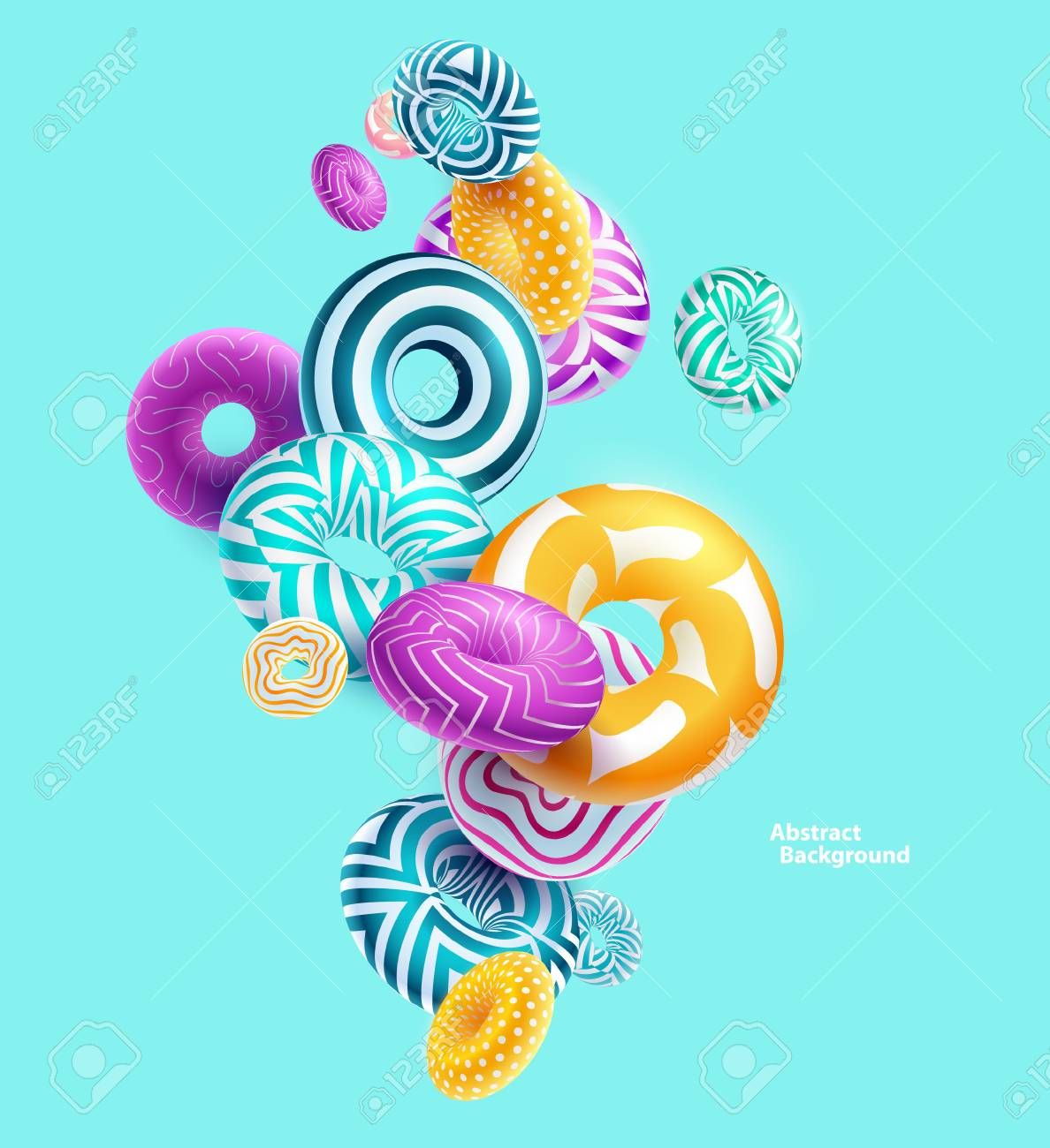 Multicolored decorative rings. Abstract vector illustration. - 75253843