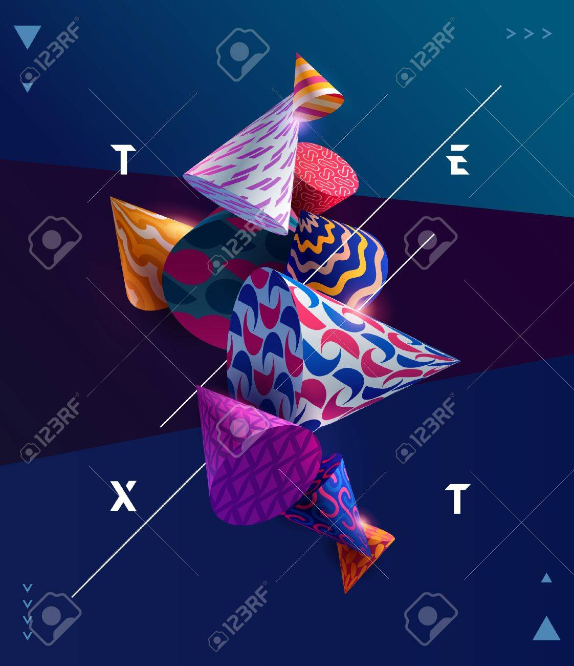 Poster template with 3D decorative cones. - 88595047