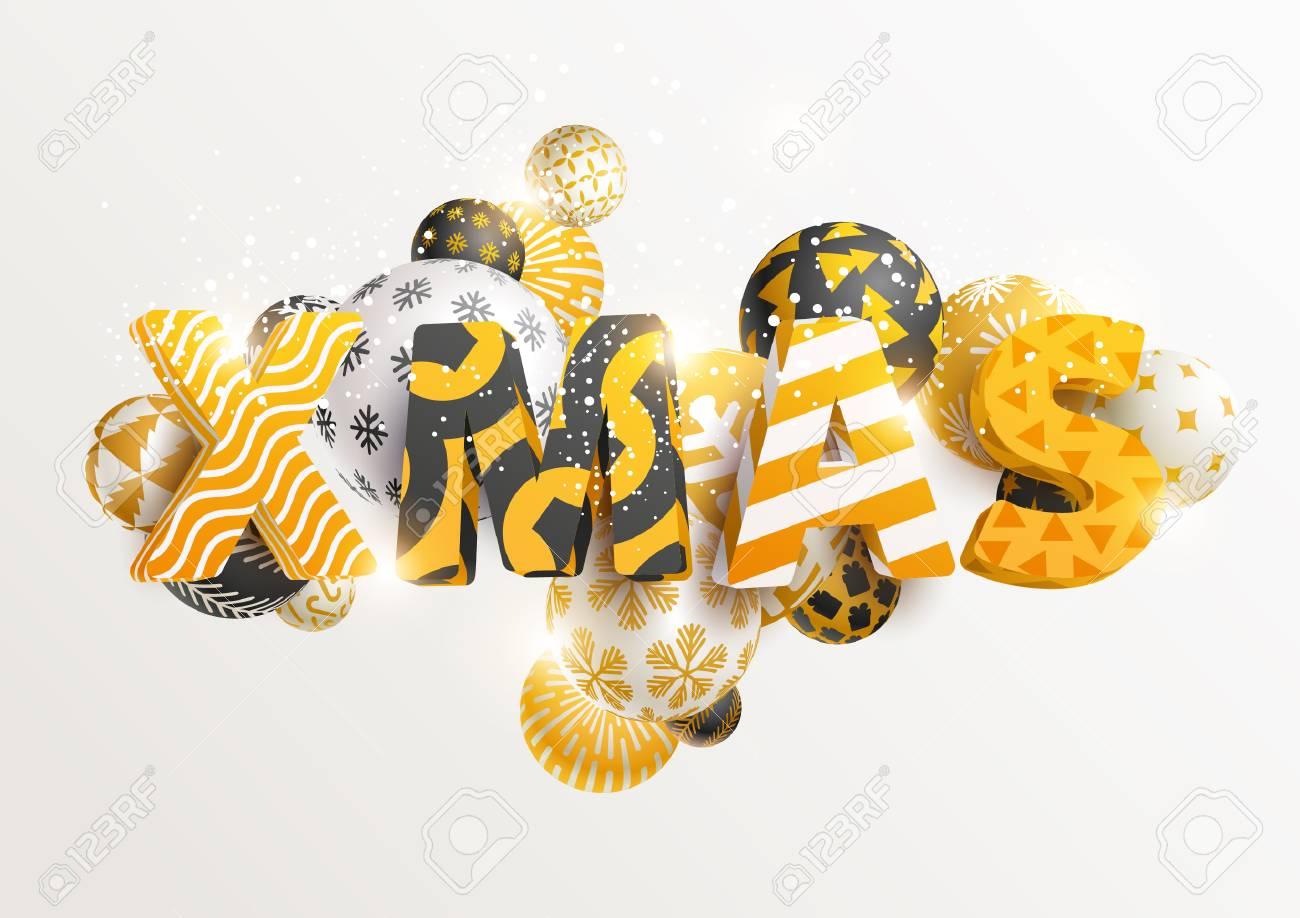Christmas golden greeting card - 90711822