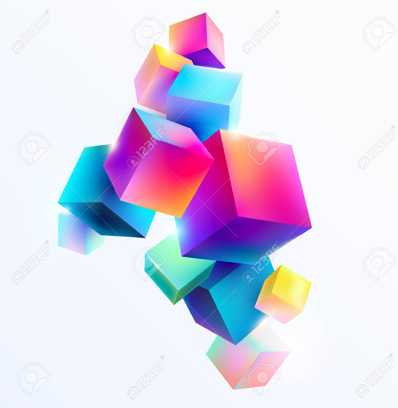 Abstract colorful composition with 3d cubes - 95587032