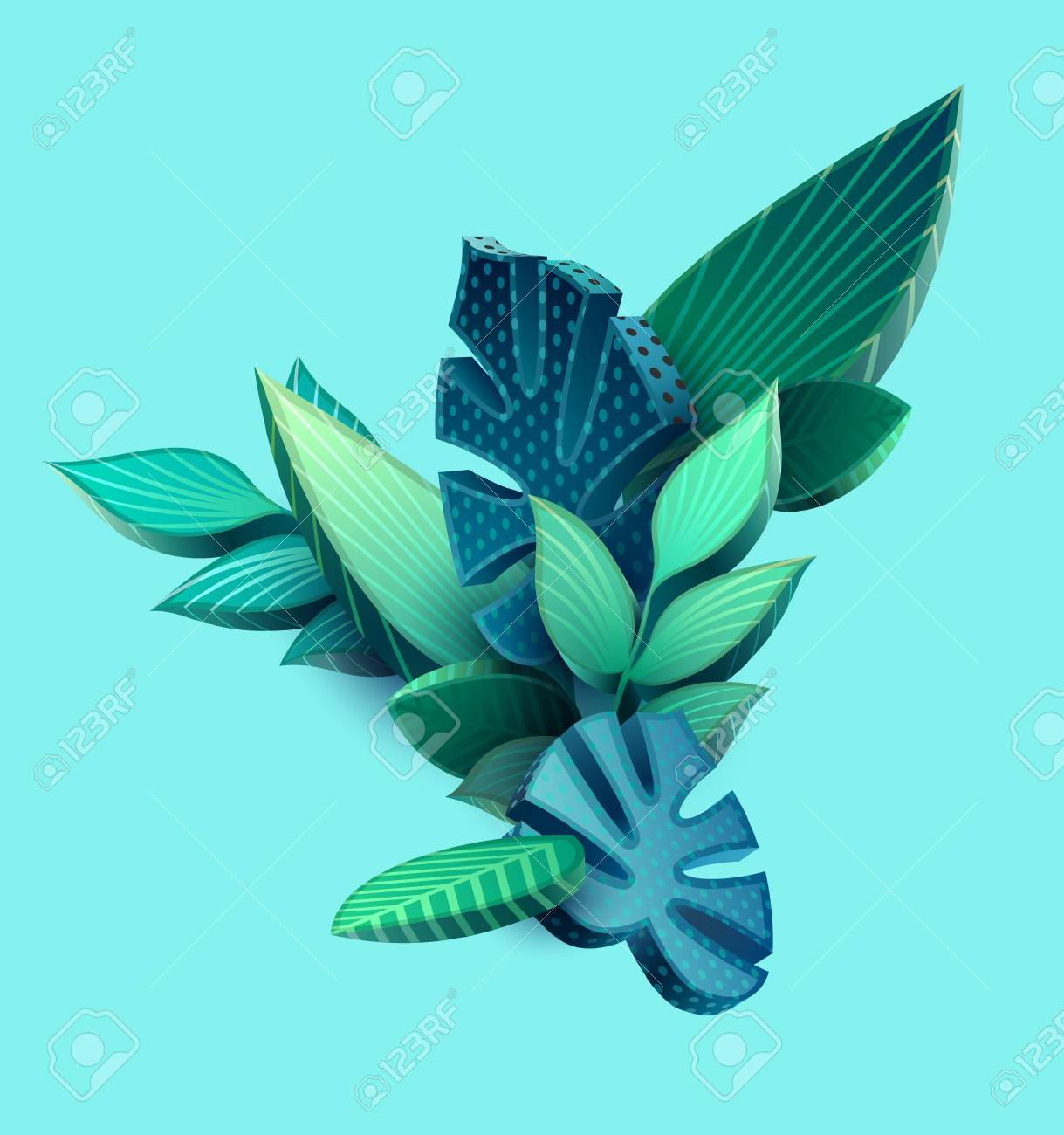 Composition of 3D stylized leaves