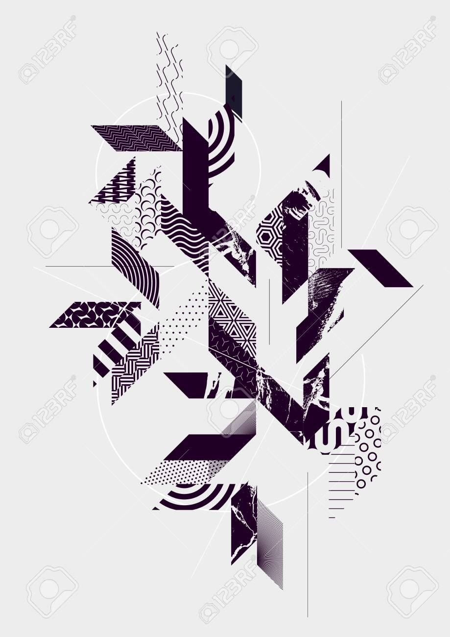 Abstract art background with geometric elements - 133955489