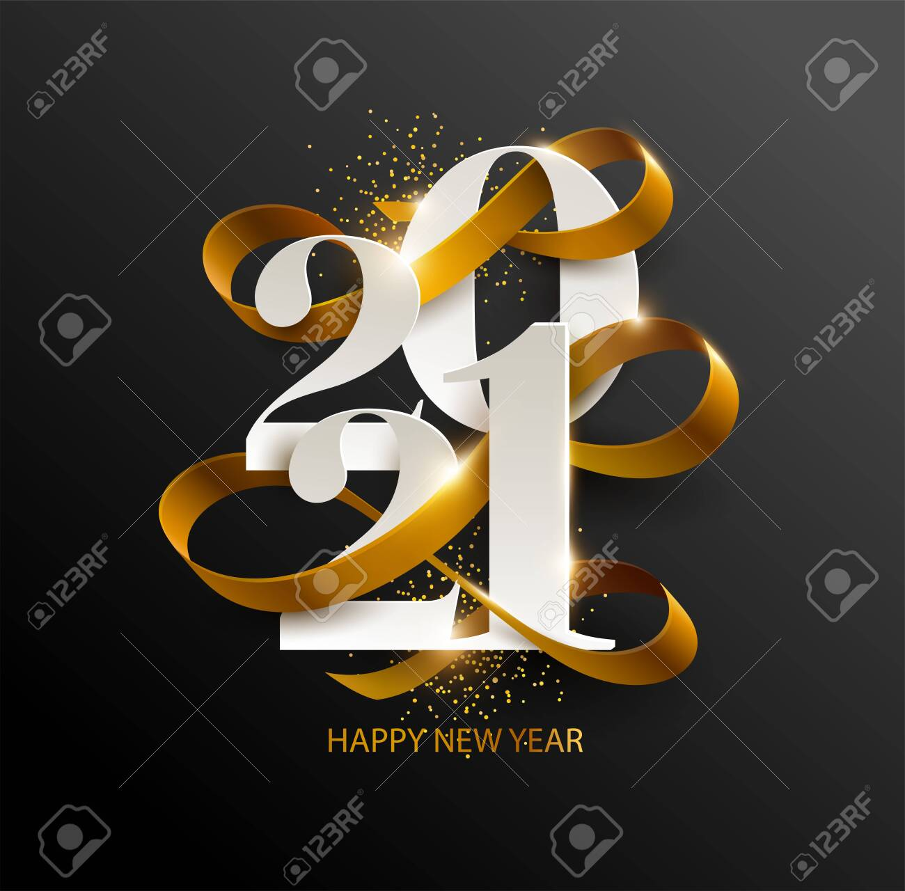 New Years 2021. Greeting card with date and ribbon on black background - 158708523