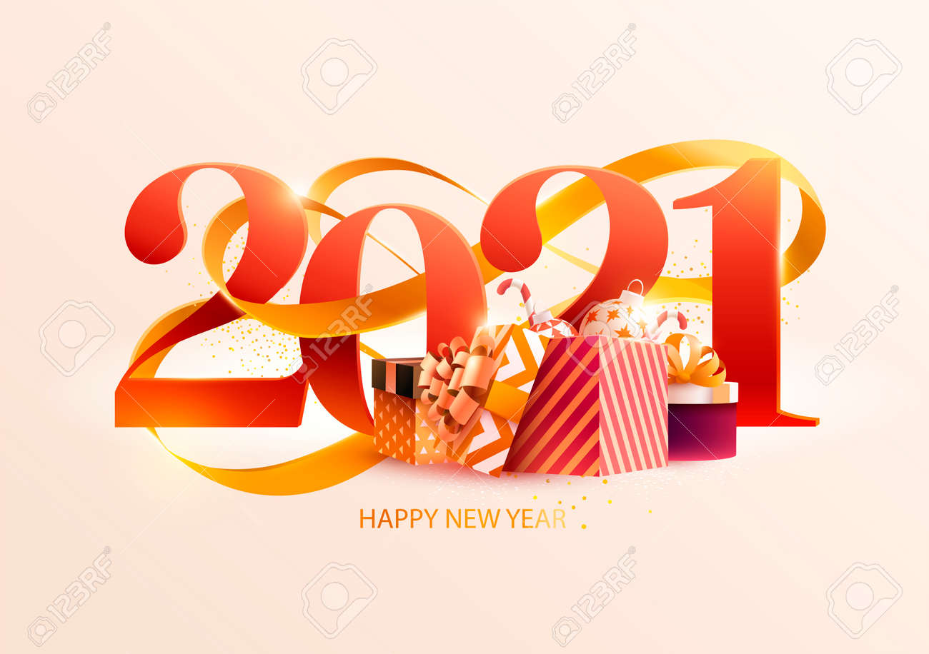 New Years 2021. Greeting card with date gold ribbon and gifts. Holiday illustration - 160934588