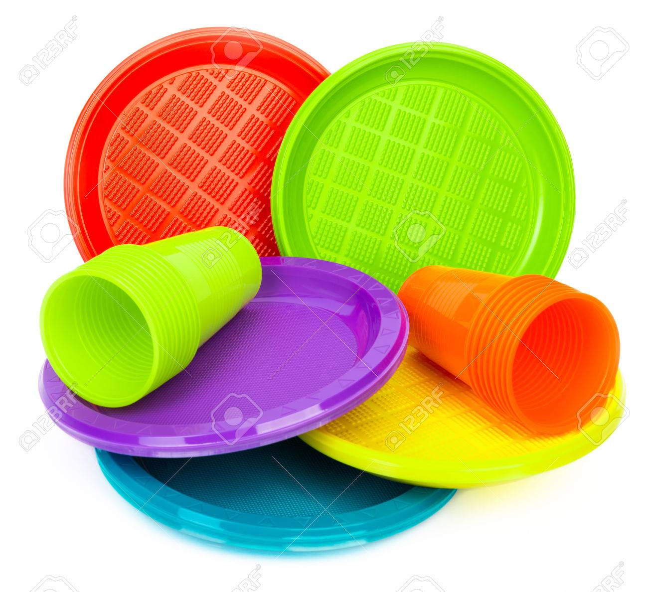 Disposable bright plastic plates and cups on white Stock Photo - 32021380  sc 1 st  123RF.com & Disposable Bright Plastic Plates And Cups On White Stock Photo ...