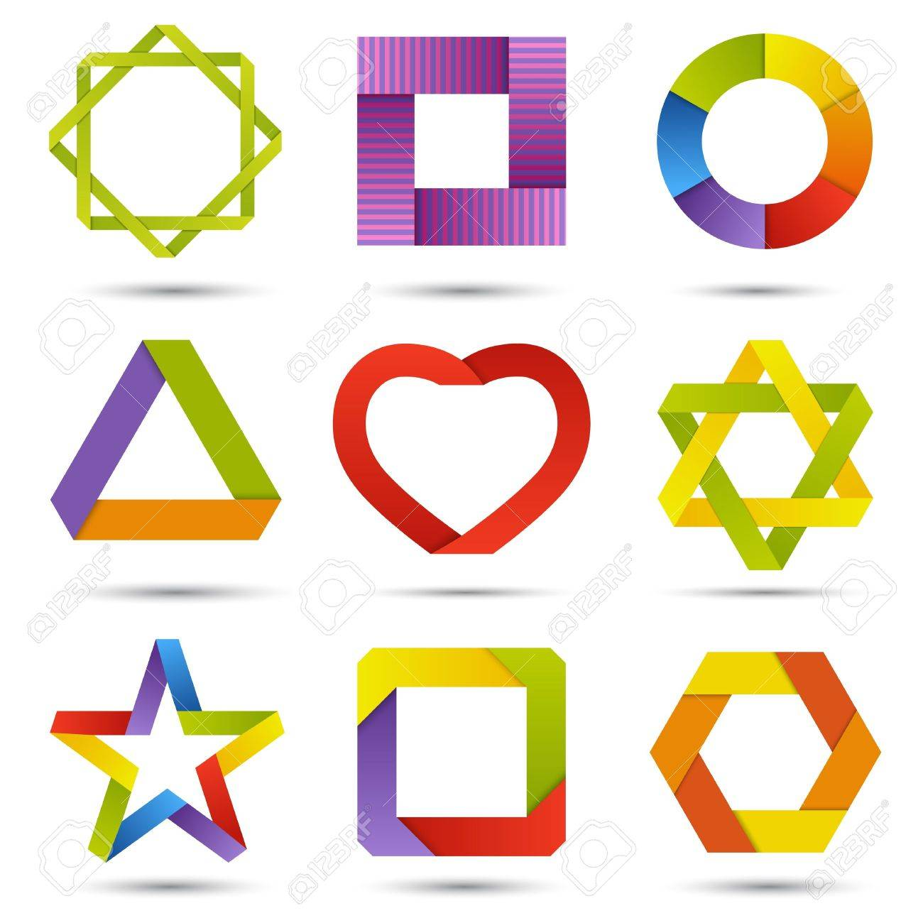 Color striped signs and symbols set Stock Vector - 18219500