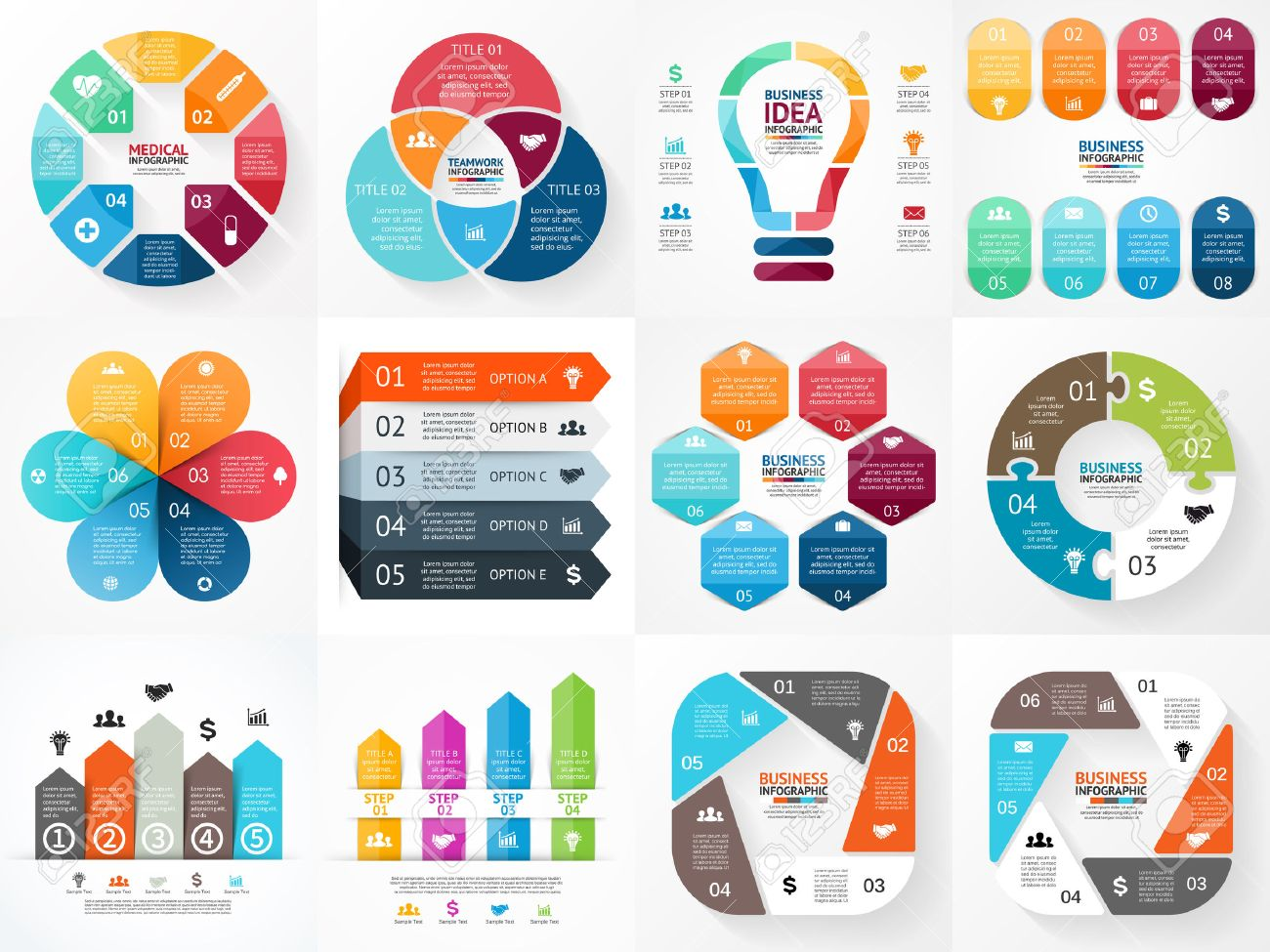 Vector Infografiken Gesetzt. Sammlung Von Vorlagen Für ...