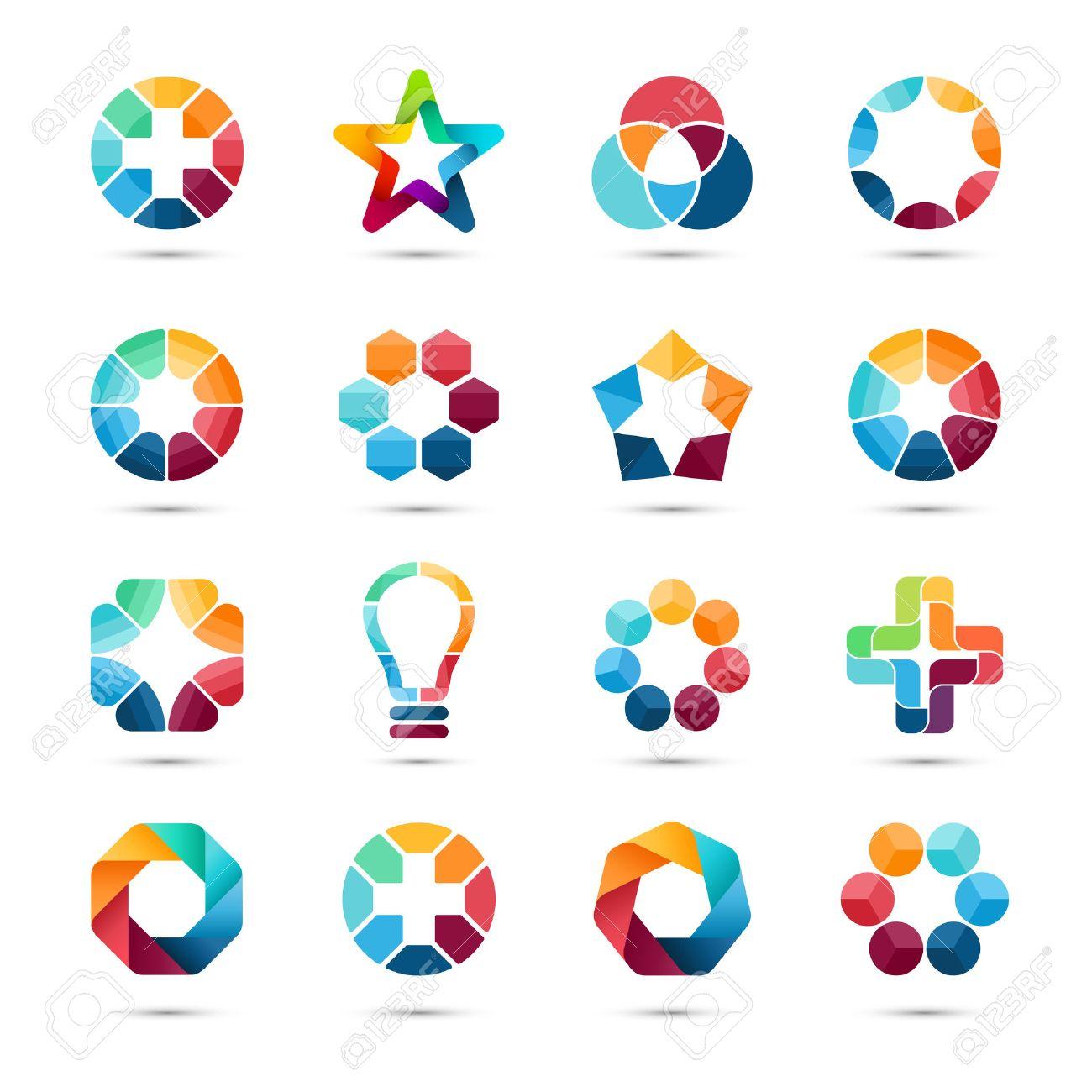 Logo Templates Set. Abstract Circle Creative Signs And Symbols ...