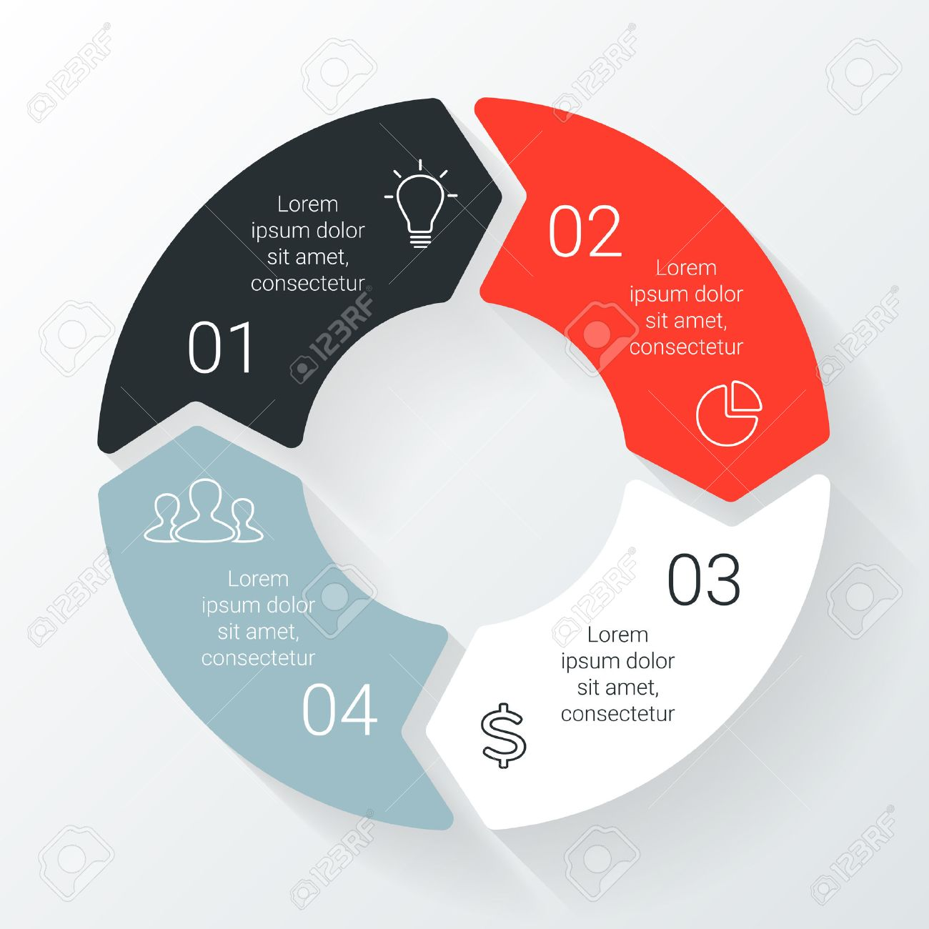 Vector line circle arrows infographic. Template for cycle diagram, graph, presentation and round chart. Business concept with 4 options, parts, steps or processes. Linear graphic. - 38906712